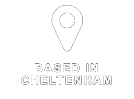 Based In Cheltenham Text With Location Pin Icon